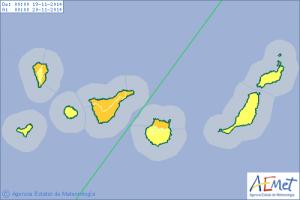 Tormentas sobre Canarias desde el miércoles 19 al sábado 22.
